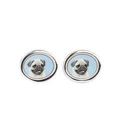 Pug Oval Cufflinks