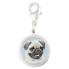 Pug Silver Round Charm