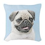 Pug Woven Throw Pillow