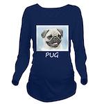 Pug Long Sleeve Maternity T-Shirt