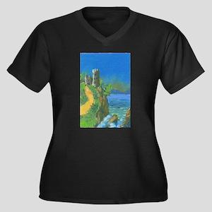 Castle Overlooking Cliffs Women's Plus Size V-Neck
