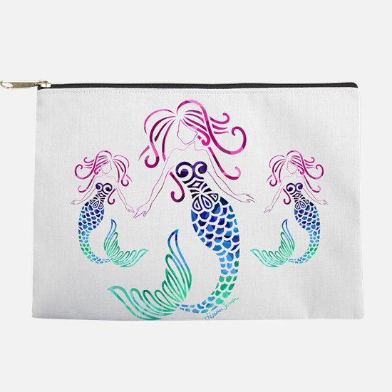 Mystical Mermaid with Two Daughters Makeup Pouch
