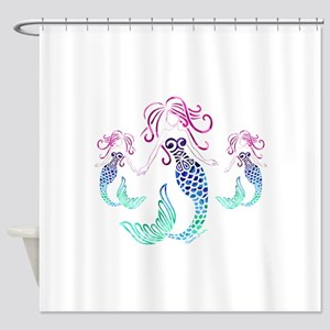 Mystical Mermaid with Two Daughters Shower Curtain