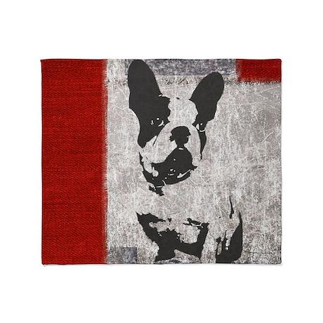 Patriotic French Bulldog Throw Blanket