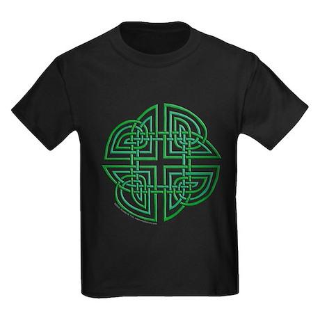 Celtic Four Leaf Clover Kids Dark T-Shirt