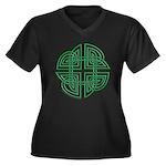 Celtic Four Leaf Clover Women's Plus Size V-Neck D