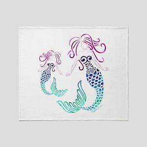 Mystical Mermaid with Daughter Throw Blanket