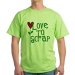 Love to Scrapbook - Heart Flo Green T-Shirt
