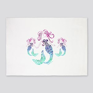 Mystical Mermaid with Two Daughters 5'x7'Area Rug