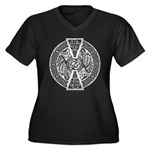 Celtic Dragon Women's Plus Size V-Neck Dark T-Shir