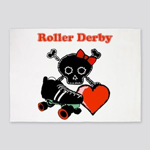Roller Derby Heart (Red) 5'x7'Area Rug
