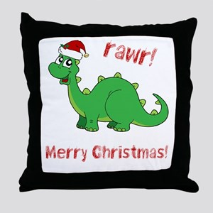 Dinosaur Christmas Throw Pillow