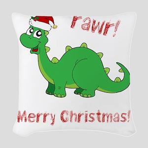 Dinosaur Christmas Woven Throw Pillow