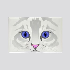 Cute white tabby cat face close up illustr Magnets