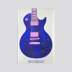 """Neon Blue"" Guitar Rectangle Magnet"
