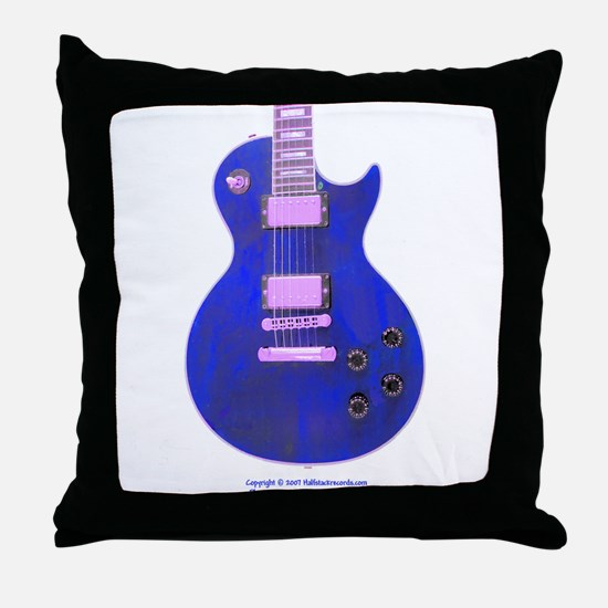 """Neon Blue"" Guitar Throw Pillow"