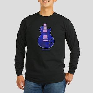 """""""Neon Blue"""" Guitar Long Sleeve Dark T-Shirt"""