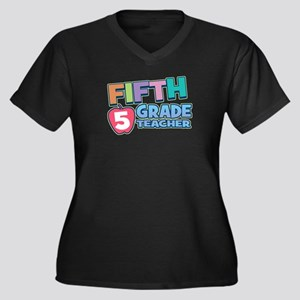 Fifth Grade Teacher Plus Size V-Neck Dark Tee