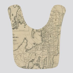 Vintage Map of Newport Rhode Is Polyester Baby Bib