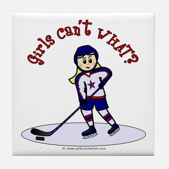 Blonde Hockey Girl Tile Coaster