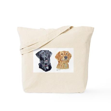 Black Lab and Golden Retriever Tote Bag