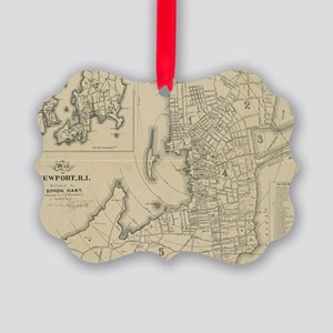 Vintage Map of Newport Rhode Isla Picture Ornament