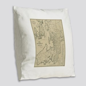Vintage Map of Newport Rhode I Burlap Throw Pillow