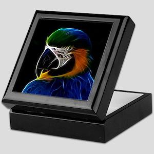 Digital blue parrot fractal Keepsake Box