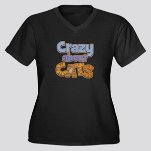 Crazy About Cats Women's Plus Size V-Neck Dark Tee
