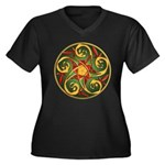 Celtic Pentacle Spiral Women's Plus Size V-Neck Da