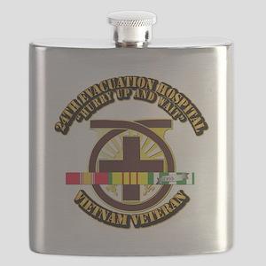 Army - 24th Evacuation Hospital w SVC Ribbon Flask