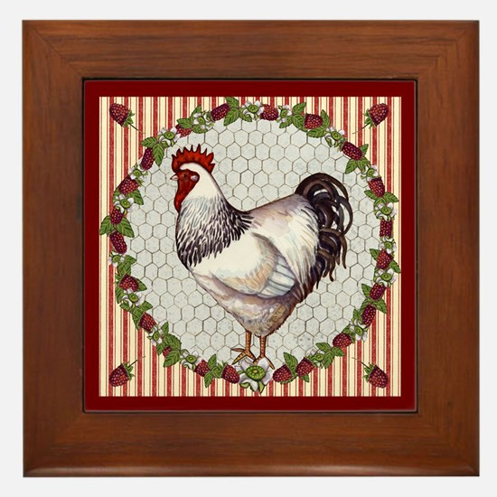 Sweet Raspberries Chicken Framed Tile