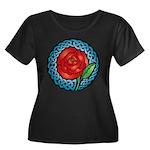 Celtic Rose Women's Plus Size Scoop Neck Dark T-Sh
