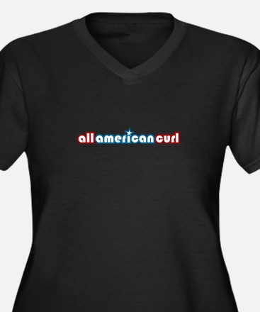 All American Curl Women's Plus Size V-Neck Dark T