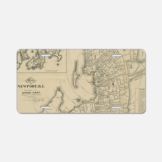 Vintage Map of Newport Rhod Aluminum License Plate