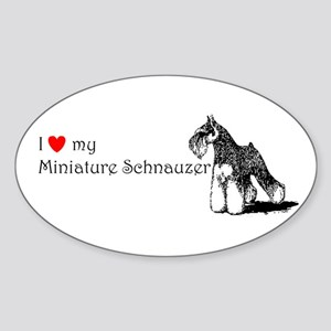 Love My Mini-Schnauzer Oval Sticker