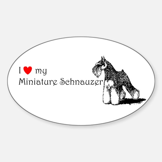 Love My Mini-Schnauzer Oval Decal