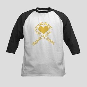 Gold Ribbon of Words Kids Baseball Jersey