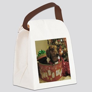 Christmas Dachshund Canvas Lunch Bag