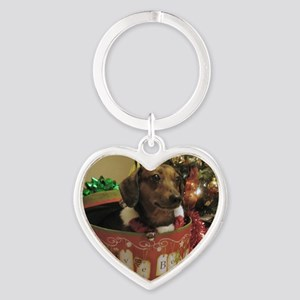 Christmas Dachshund Heart Keychain