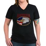 America Love it or Leave it! Wmns V-Neck Dk Tee