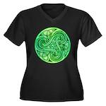 Celtic Triskele Women's Plus Size V-Neck Dark T-Sh