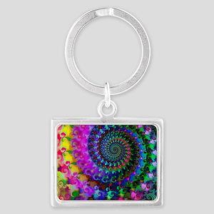 Psychedelic Rainbow Fractal Pat Landscape Keychain