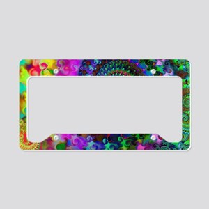 Psychedelic Rainbow Fractal P License Plate Holder