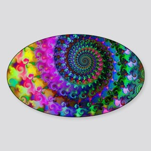Psychedelic Rainbow Fractal Pattern Sticker (Oval)