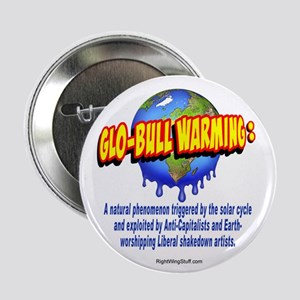 """Glo-bull Warming: 2.25"""" Button (10 pack)"""