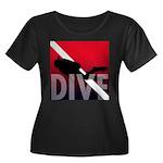 DIVE Women's Plus Size Scoop Neck Dark T-Shirt