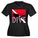 DIVE Women's Plus Size V-Neck Dark T-Shirt