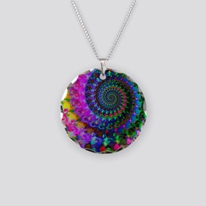 Psychedelic Rainbow Fractal  Necklace Circle Charm