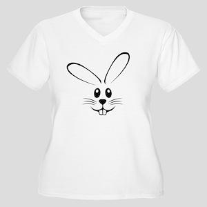 Rabbit Face Women's Plus Size V-Neck T-Shirt